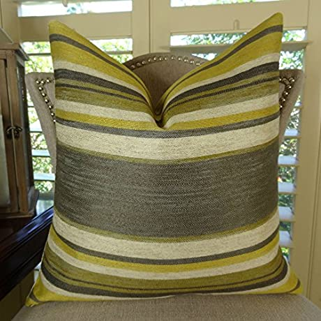 Thomas Collection Designer Decorative Modern Stripe Pillow Gray Citrine Cream Stripe Pillow Grey Pillow Soho Throw Pillow Couch Pillow COVER ONLY NO INSERT Made In US 11269