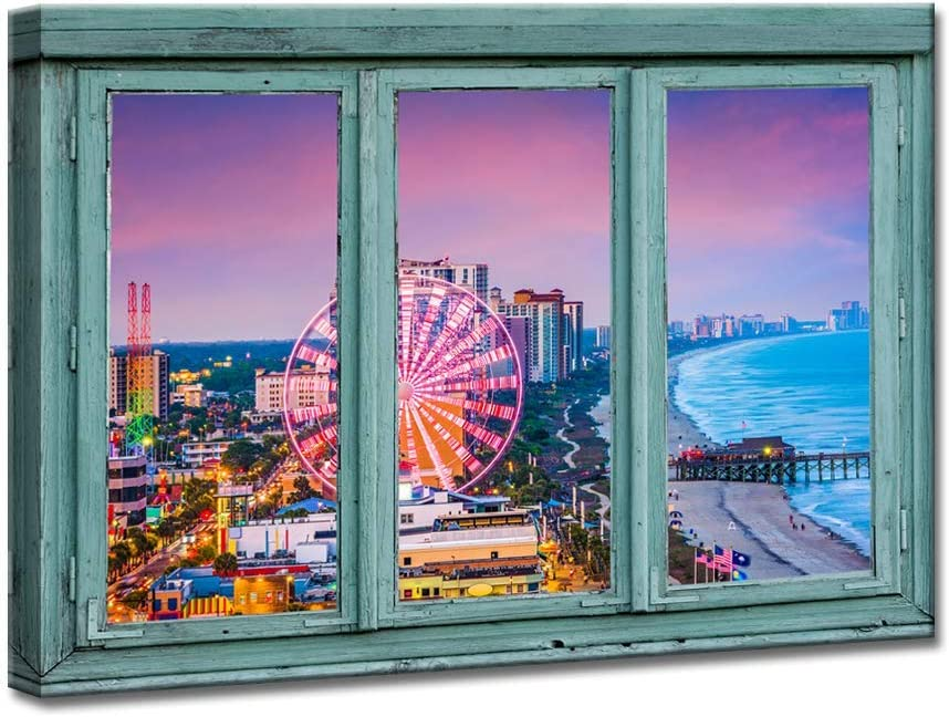 iKNOW FOTO Canvas Prints Retro Teal Window Frame Style Ferris Wheel Landscape Pictures Printed On Canvas Myrtle Beach South Carolina USA City Skyline Scenery Wall Art Painting for Living Room Decor