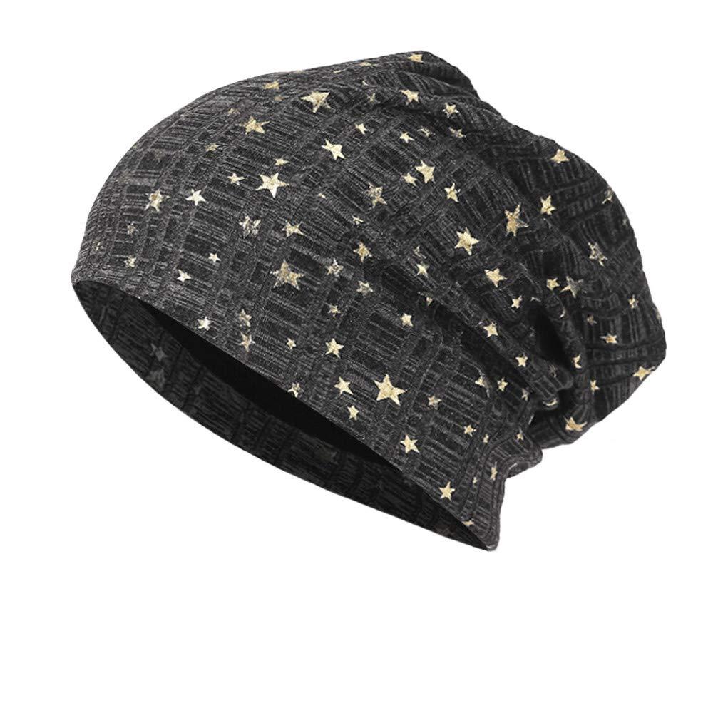 TOOPOOT Skull Caps Men Star Indoors Cotton Slouchy Beanies Soft Knit Slouchy Cap Skull Hat Cap (Black)