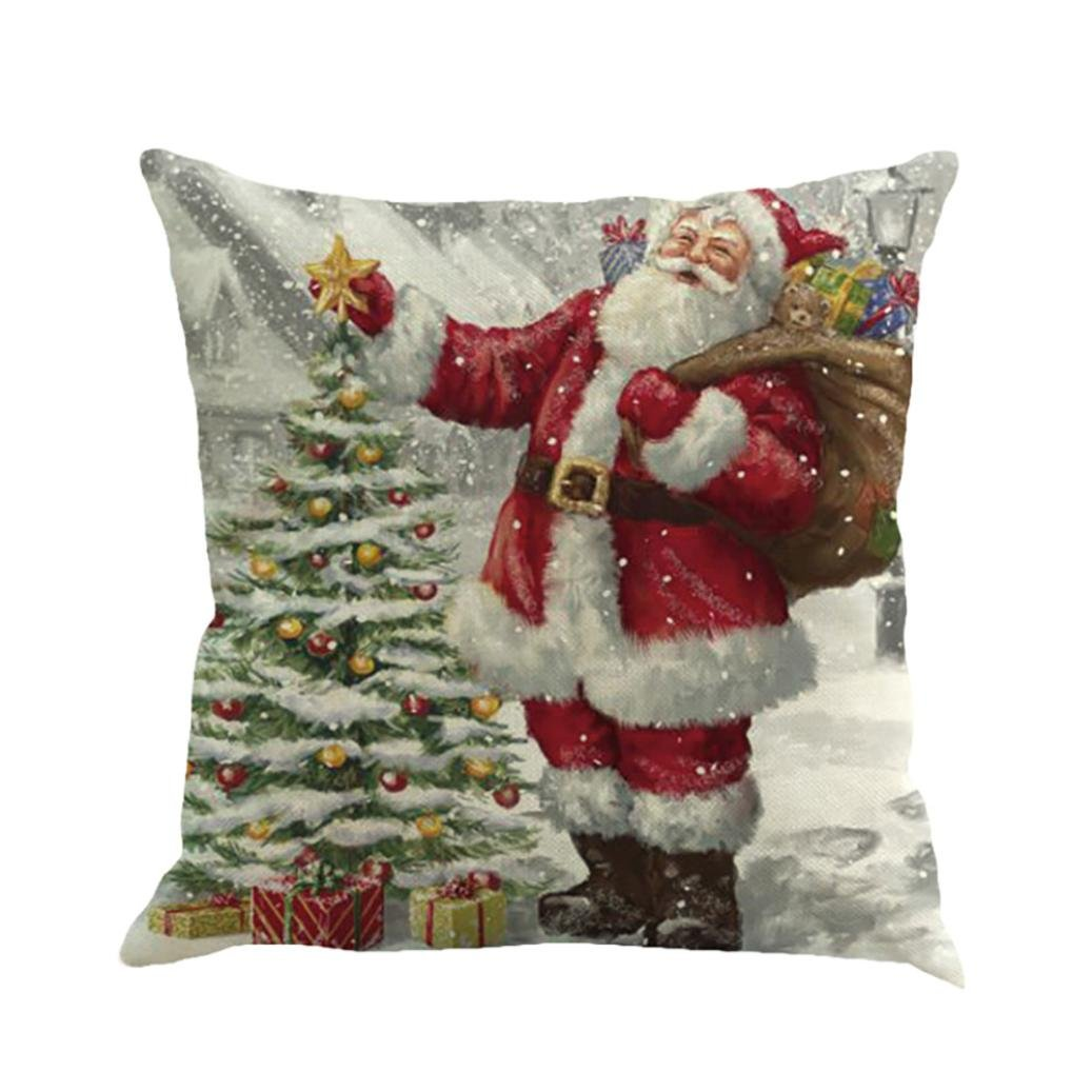 Hmlai Decorative Pillowcases Christmas Printing Dyeing Sofa Bed Home Decor Pillow Cover Cushion Cover,45cmx45cm (E)