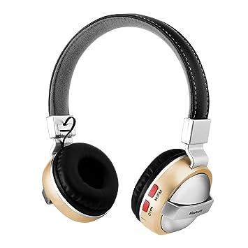 Bescita Auriculares Bluetooth 4.2 con micrófono TF para teléfonos móviles/PC/TV, dorado: Amazon.es: Deportes y aire libre