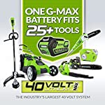 Greenworks 16-inch 10 amp corded electric lawn mower 25142 & 24012 7 amp 160 mph single speed electric blower, black and… 11 g-max 40v 4ah li-ion battery (model 29472) powers multiple tools for complete yard work system--includes 1-4ah battery and charger single lever 5-position height adjustment offers cutting height range from 1-1/4 inch to 3-3/8-inch for the best cut in all environments 2-in-1 feature offers rear bagging and mulching capability for multiple use. Cuts 400m2 on a single charge. Nice even cut for all grass types