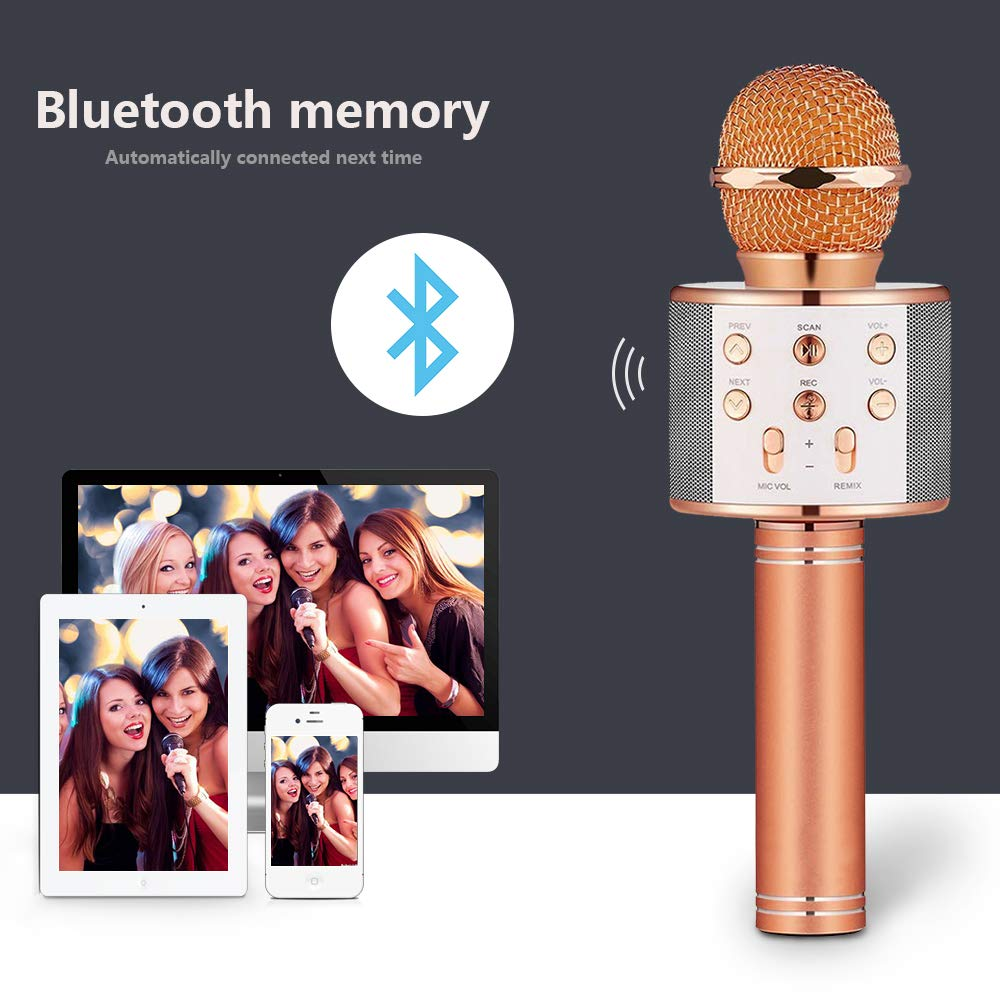 Birthday Gifts for 4-12 Year Old Girls, DIMY Wireless Karaoke Microphone Bluetooth for Kids Toy Microphone Party Favor for Teen Boys Girls Toys Age 4-12 Gifts Toys for Teens Boy Rose Gold DMHK3 by LET'S GO! (Image #4)