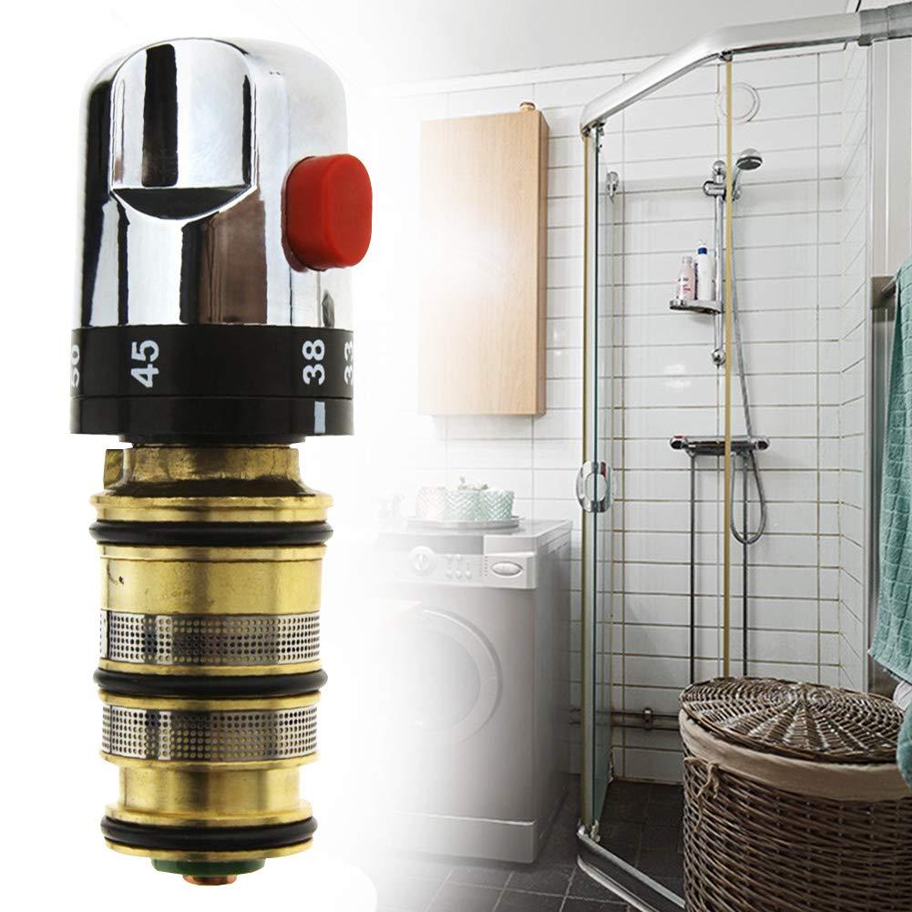 sistema de ducha de rosca V/álvula mezcladora para barra termost/ática kit de cartucho de reparaci/ón de repuesto lat/ón s/ólido mango de control de temperatura de agua conexi/ón de cartucho de cobre