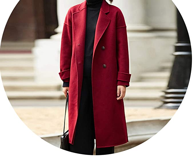 Amazon.com: Abrigo de lana 100% para mujer otoño Causal ...