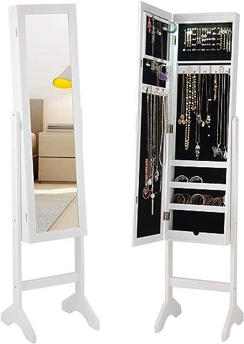 Style home LED Licht Schmuckschrank Schmuckregal Spiegelschrank Schmuckkasten Standspiegel Holz Wei/ß