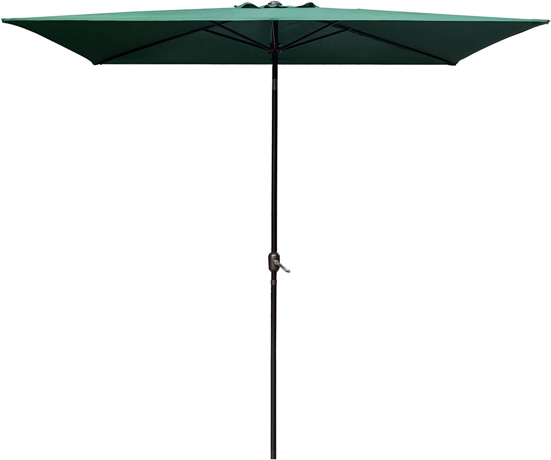 DOIFUN Rectangular Patio Outdoor Market Table Umbrella with Push Button Tilt and Crank for Garden Lawn Deck, Backyard & Pool (6.5 x 10 ft, Dark Green)