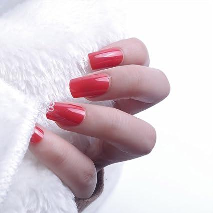 24pcs 12 diferentes tamaño Navidad rojo sólido longitud de la tamaño mediano cuadrado completo para uñas