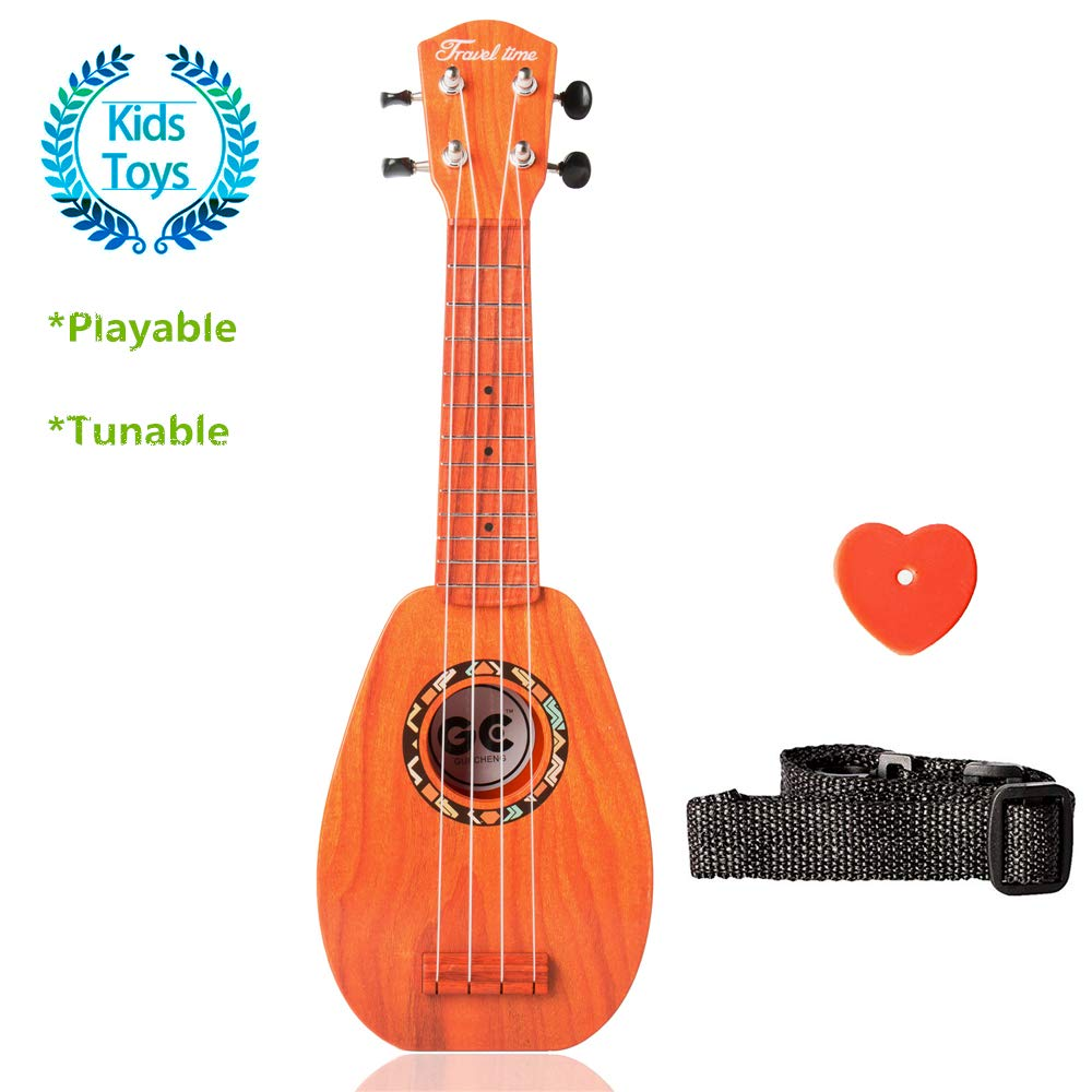 Satisfounfer Kid Guitar Plastic Toy Ukulele with Strap Mini Guitar String for Toddler Kids Boys Girls Learning Resources -17 Inch (Dark Rosewood)