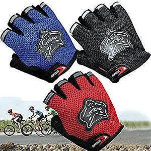 Cloulds_Zone Kids Boys Girls Bike Gloves for Powerlifting, Weight Training, Biking, Cycling - Gym Sports Workout Half Finger Gloves for Ages 8-12 Years Old (Black)