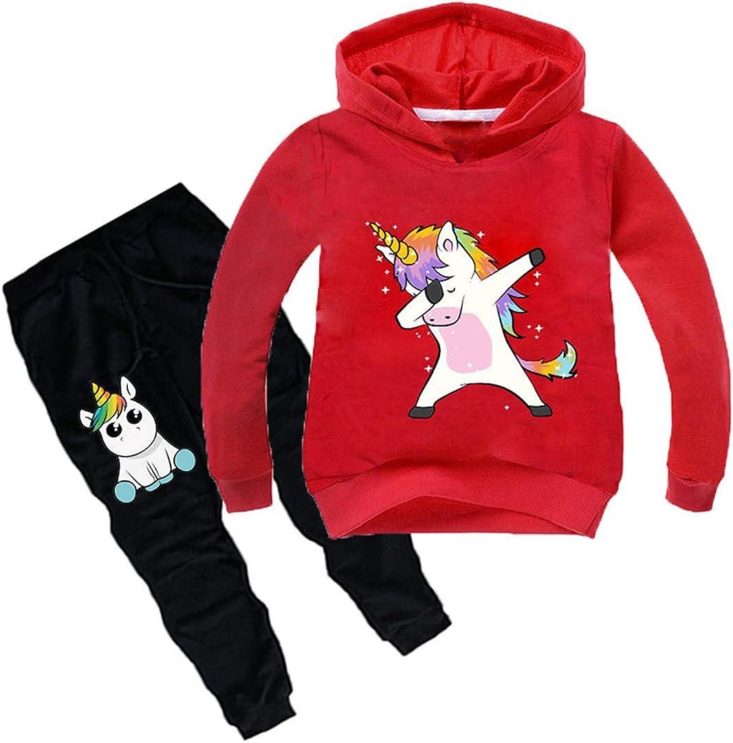 Silver Basic Felpa con Cappuccio e Pantaloni Stampa Cartone Animato Tuta Maglia Bambino Unicorno Cotone
