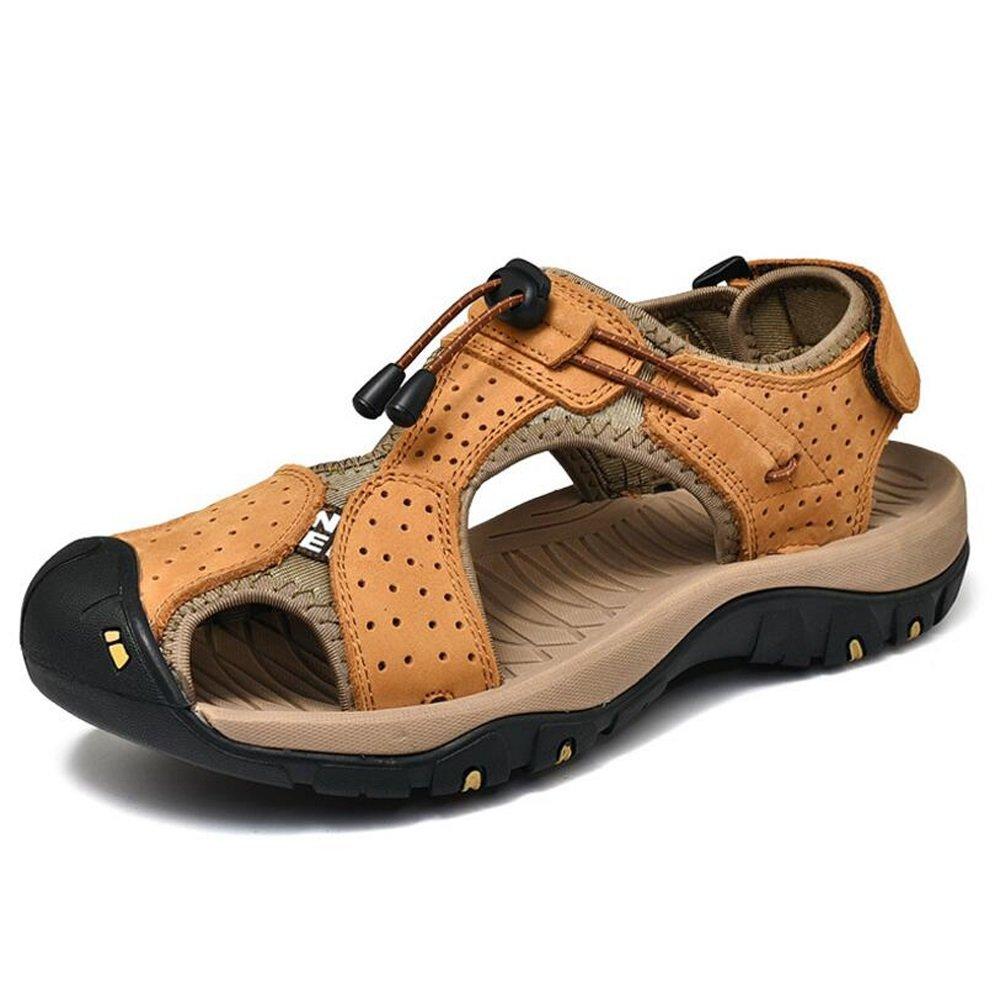 Sandalias Baotou para hombre Nuevo y caliente Confort de diseño Estilo británico Paseo por la playa Sandalias ligeras y transpirables Zapatillas GAOLIXIA ( Color : Yellow brown , tamaño : 40 ) 40|Yellow brown