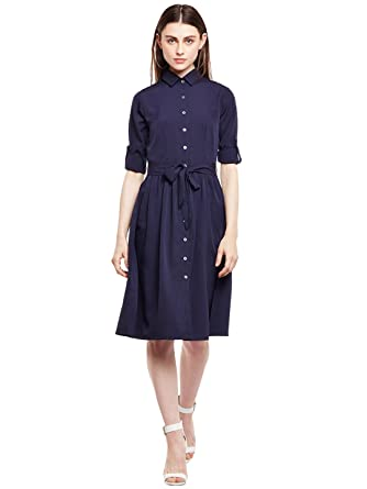 f3ea2c9d82b Wisstler Women s Navy Blue Poly Crepe Shirt Dress  Amazon.in  Clothing    Accessories