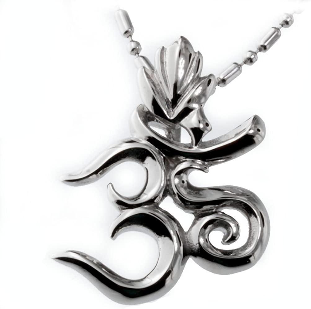 Tribe Aum Om Ohm Sanskrit Symbol Yoga Necklace with Stainless Steel Chain