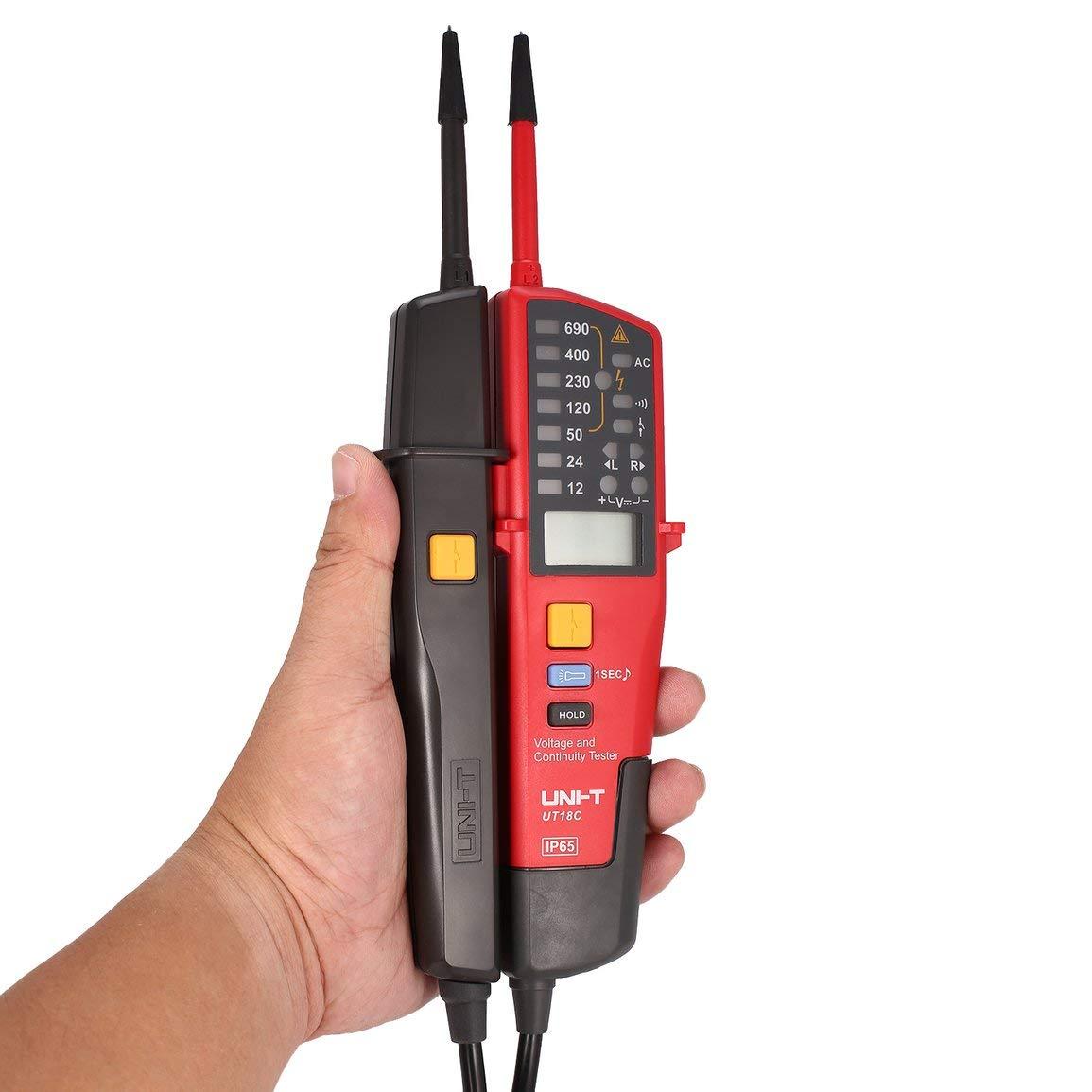 Detector Tester UNI-T UT18C escala automática del medidor de tensión Continuidad de rotación de fase RCD LCD LED de dos polos de encendido y apagado del ...