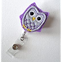 Purple Passion Owl - Retractable ID Badge Reel - Name Badge Holder - Cute Badge Reel - Nurse Badge Holder - Nursing Badge Clip - Felt Badge- Belt Slide Clip