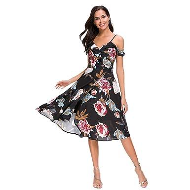 6816fb38d58 Unifizz Women s V Neck Floral Cold Shoulder Casual Cocktail Wedding Midi  Dress Black S