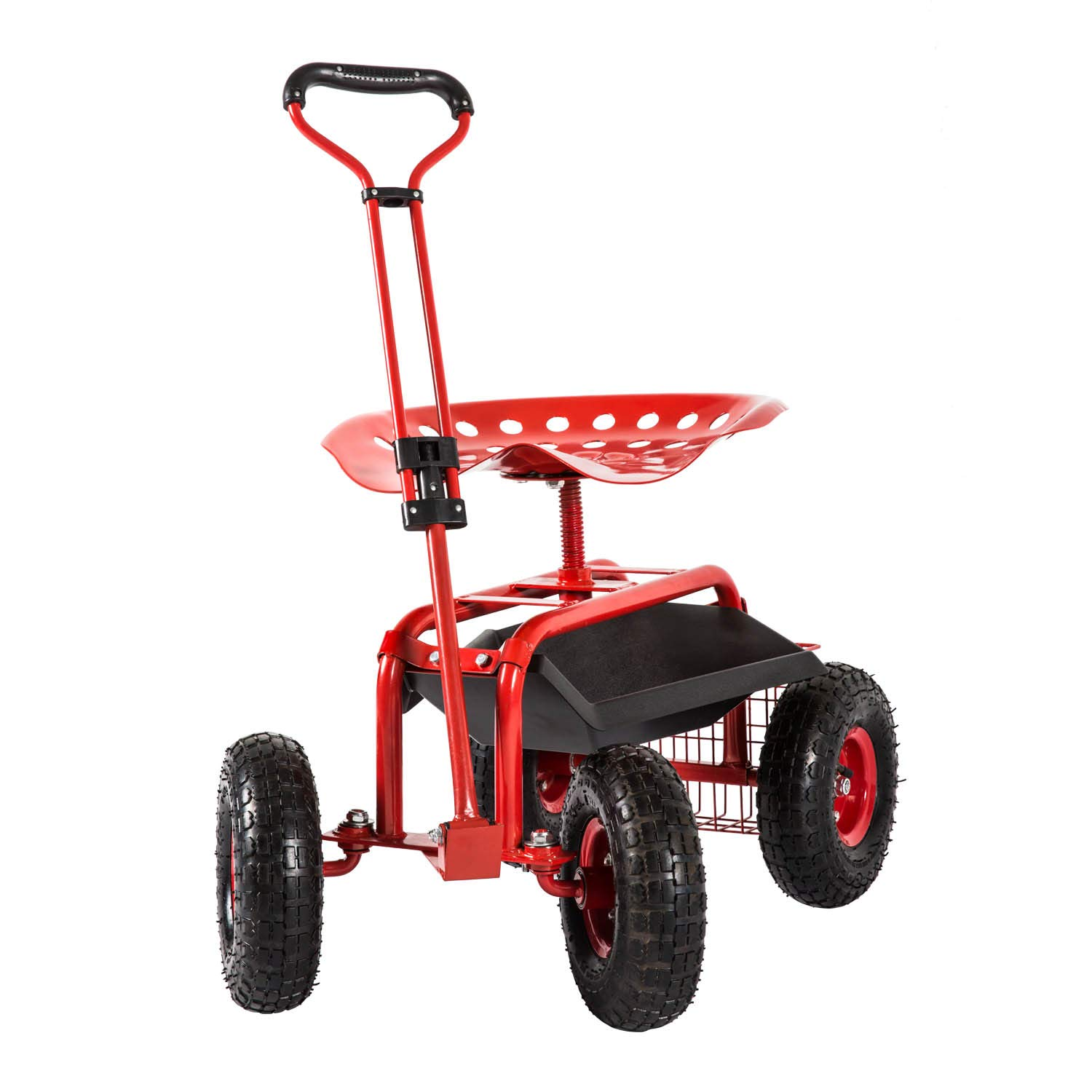 Peach Tree Garden Cart Rolling Work Seat Outdoor Utility Lawn Yard Patio Wagon Scooter for Planting, Adjustable Handle 360 Degree Swivel Seat Red