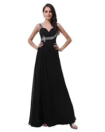 Winey Bridal Womens Long Black Ankle-length Shiny Cheap Beaded Prom Evening Dresses (UK