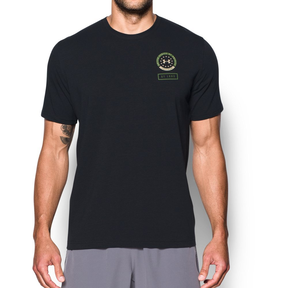 Under Armour Men's Freedom by Land T-Shirt,Black (001)/Ecru, Large