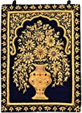 Handcrafted Royal Wall Hanging with Intricate Zardozi Hand-Embroidered Flower Pot and Faux Gemstone - Color Medieval Blue Color