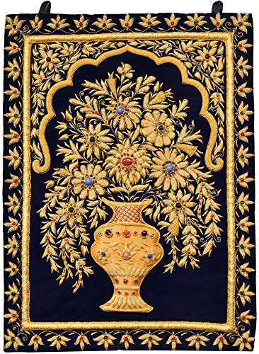 (Handcrafted Royal Wall Hanging with Intricate Zardozi Hand-Embroidered Flower Pot and Faux Gemstone - Color Medieval Blue Color)