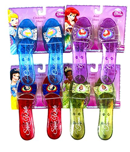 Disney Princess Shoe Set - Cinderella, Ariel, Snow White, Tiana (Disney Princess Dress Up Shoes)