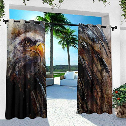 - leinuoyi Eagle, Outdoor Curtain of Lights, Painting Style Bird with Black Feathers on Abstract Backdrop Symbol of USA, Outdoor Curtain Panels for Patio Waterproof W84 x L96 Inch Brown Black Orange