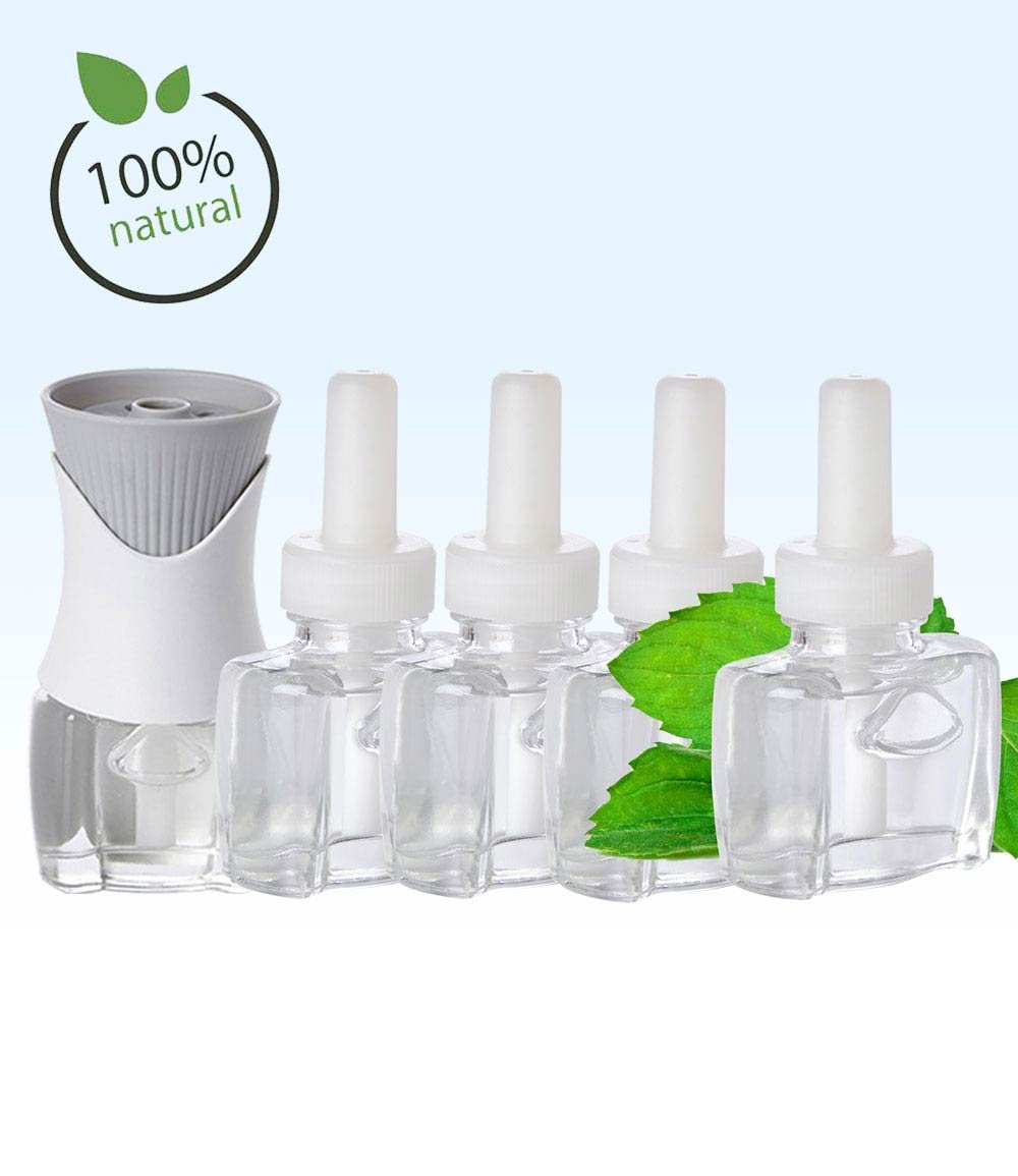 (4 Pack) 4 Scent Fill® Brand 100% Natural Peppermint refills AND (1) Air Wick® Warmer