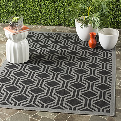 Safavieh Courtyard Collection CY6114-225 Black and Anthracite Indoor/ Outdoor Area Rug (6'7