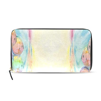9002a336a5d0 Amazon.com : Womens Wallets Ocean Colorful Fish Oil Painting Leather ...