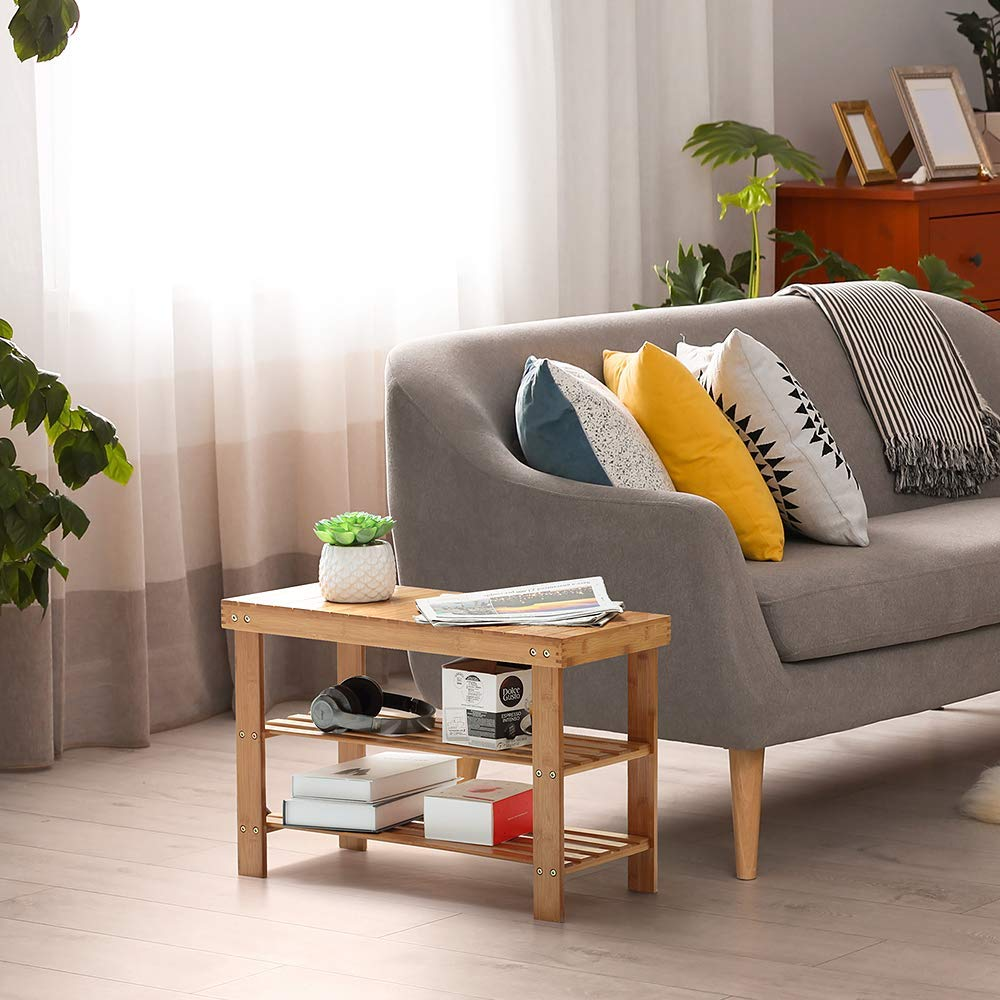260 lbs Natural Color LIANTRAL Bamboo Shoe Rack Bench 2 Tier Shoe Organizer Entryway Seat Storage Shelf Hallway Furniture