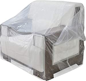 AKEfit Plastic Thicker Chair Cover, Outdoor Recliner Armchair Cushion Slipover, Waterproof Clear Furniture Protective Cover, Perfect for Storage & Moving Protection Against Pets Scratching 34