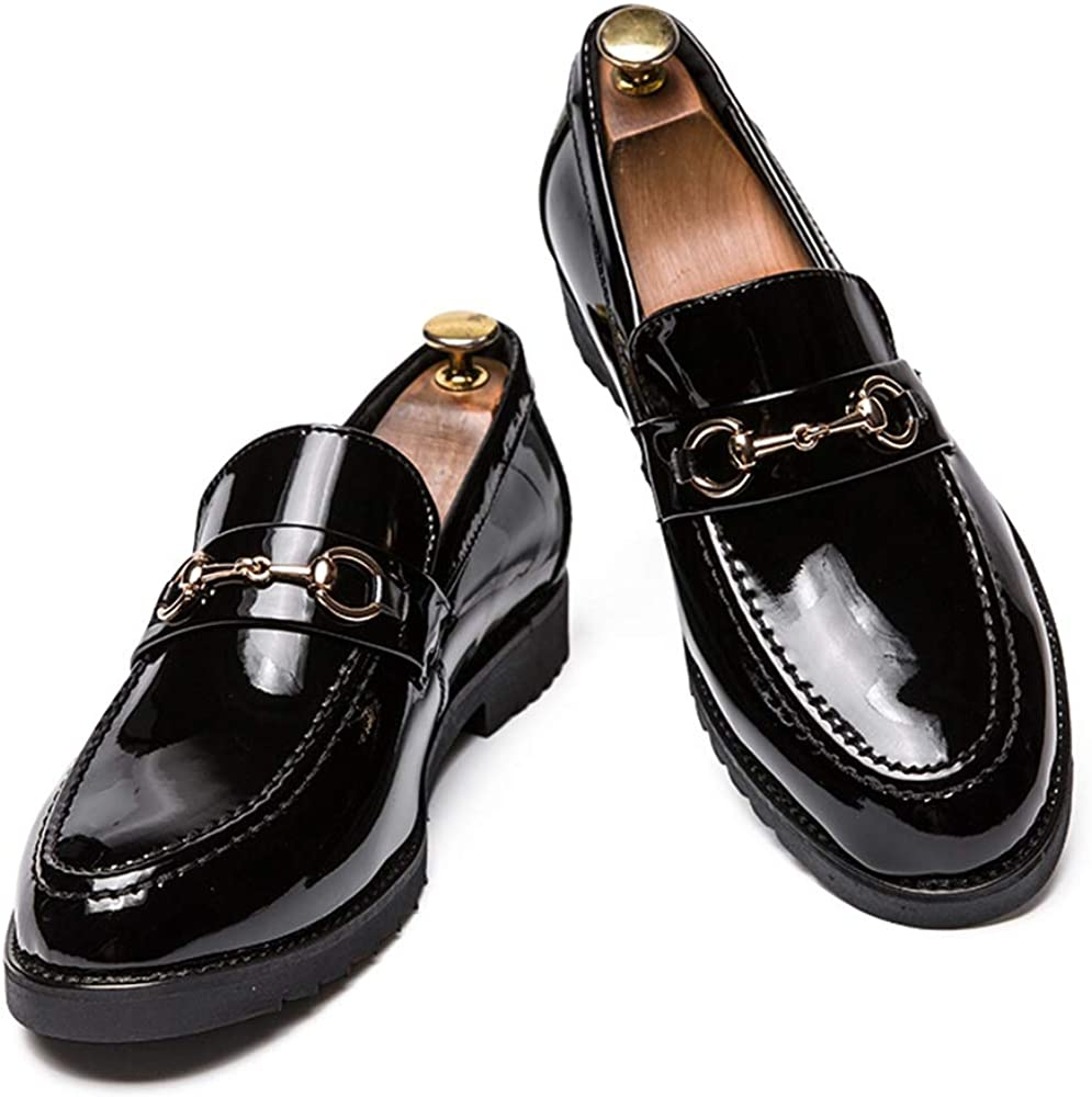 Shufang-shoes Mens Casual Classic British Style Fashion Oxford Metal Decorative Patent Leather Formal Shoes