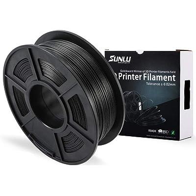 Filamento de la impresora 3D de fibra de carbono SUNLU PLA, fibra de carbono PLA 1.75 mm, filamento de impresión 3D bajo olor Precisión dimensional +/- 0.02 mm, 2,2 LBS (1 KG) Carrete,fibra de carbono