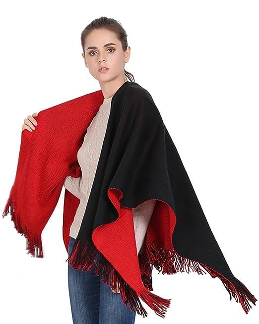 prezzo interessante sito web professionale venduto in tutto il mondo ZKOO Donna Nero Rosso Double-Sided Poncho Scialle Scialle ...