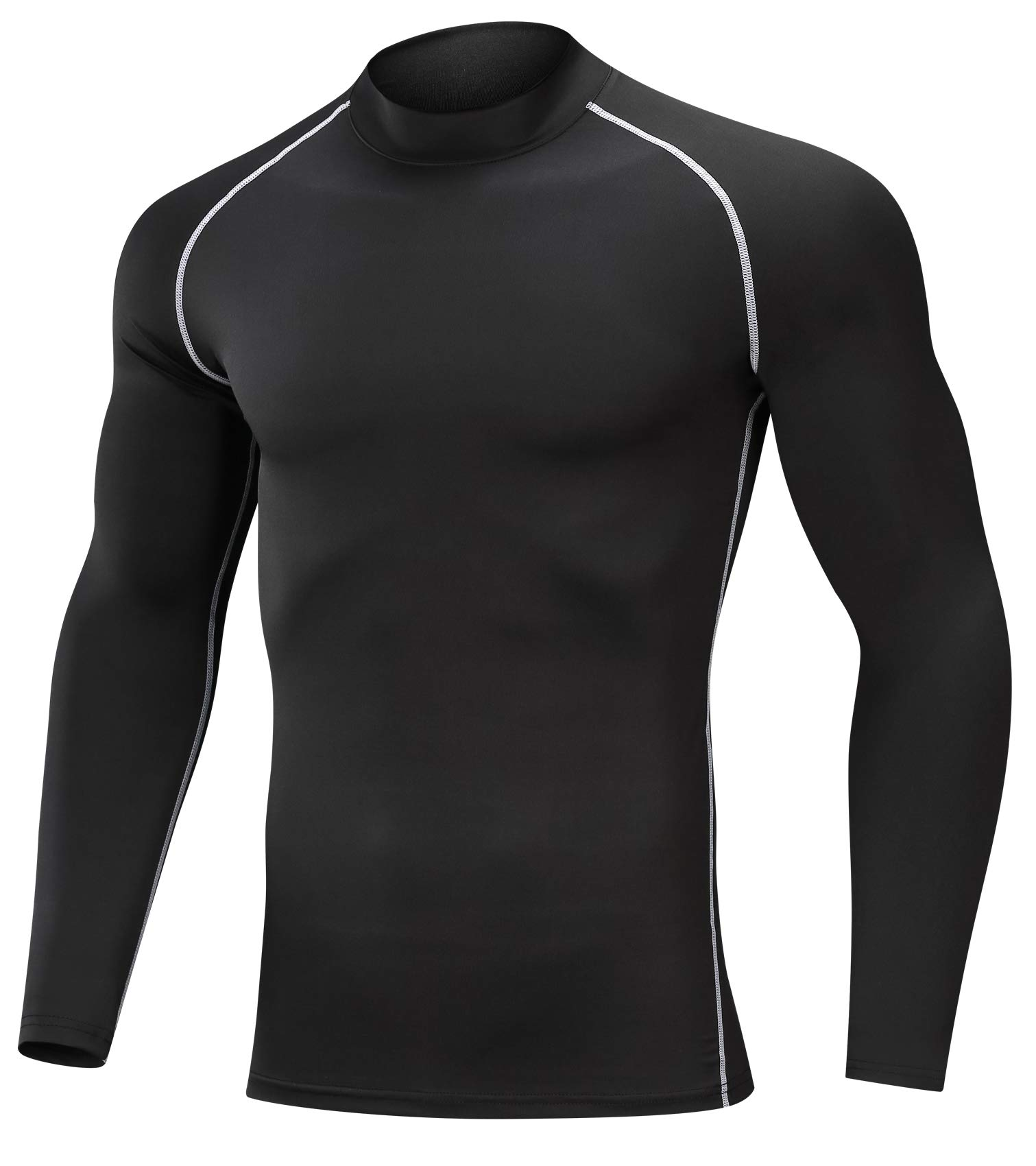 SILKWORLD Men's 3 Pack Compression Shirt Dry Fit Long-Sleeved Sports Baselayer (SW82_1 Piece: Black(White Stripe), XX-Large (Fit Chest 38.5''-42''))