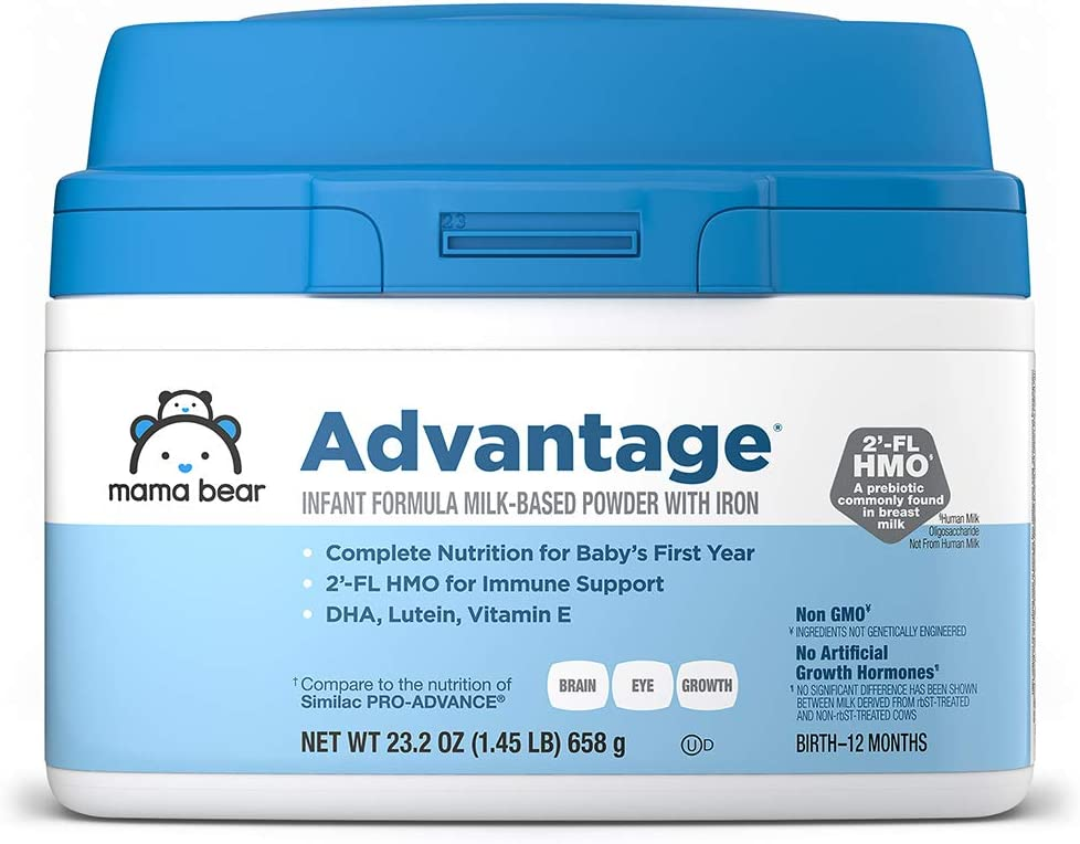 Amazon Brand - Mama Bear Advantage Infant Formula Milk-based Powder With Iron, Non-gmo, 23.2 Ounce
