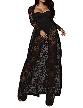 Ael Womens 3 Piece Jumpsuit Outfits Crop Top Wide Leg Long Pants Set Sexy Mesh See Through Lace Cover Up Cardigans With Belt by Ael