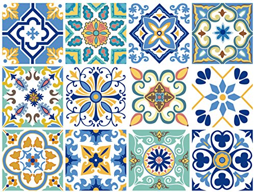 G GSS Designs 12 PC Pack Backsplash Tile Stickers 6x6 Inch (15x15cm) for Home Decoration Bathroom & Kitchen Vinyl Tile Decals Peel and Stick DIY Wall Sticker Stairs Decals (TS12-001)