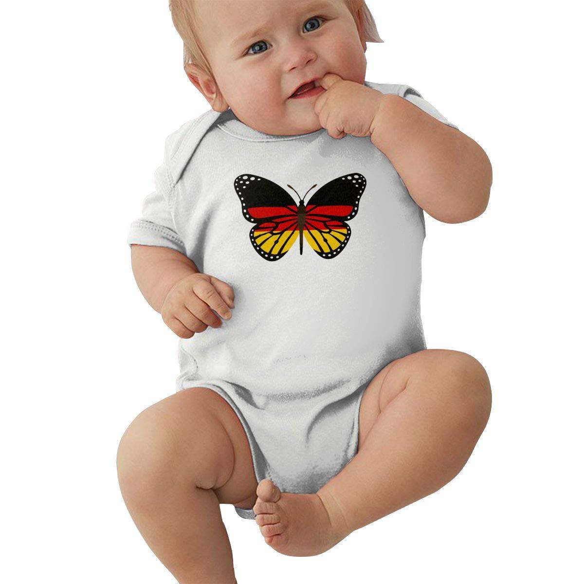 Mri-le2 Baby Girl Short Sleeve Organic Bodysuit ButterFlag German Flag Toddler Clothes