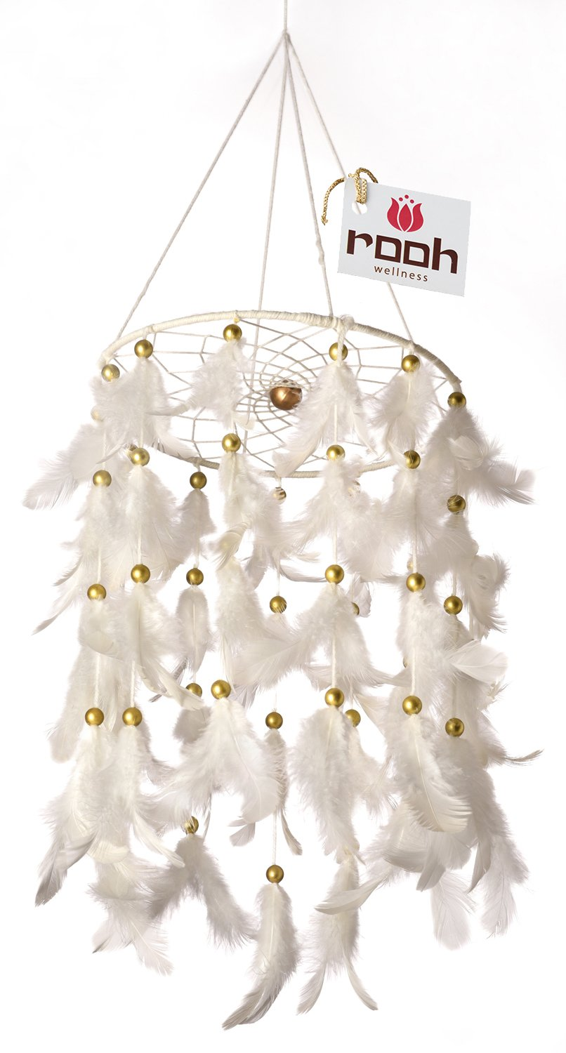 Rooh Dream Catcher ~Classic White Light ~ Handmade Hangings for Positivity (Use as Home Decor Asscent, Wall hangings, Garden, Outdoor, Bedroom, Christmas, Thanks Giving, Valentines) (Large)