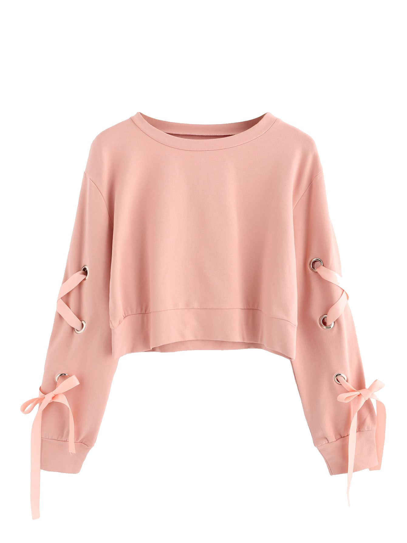 SweatyRocks Women's Casual Lace Up Long Sleeve Pullover Crop Top Sweatshirt Pink Medium