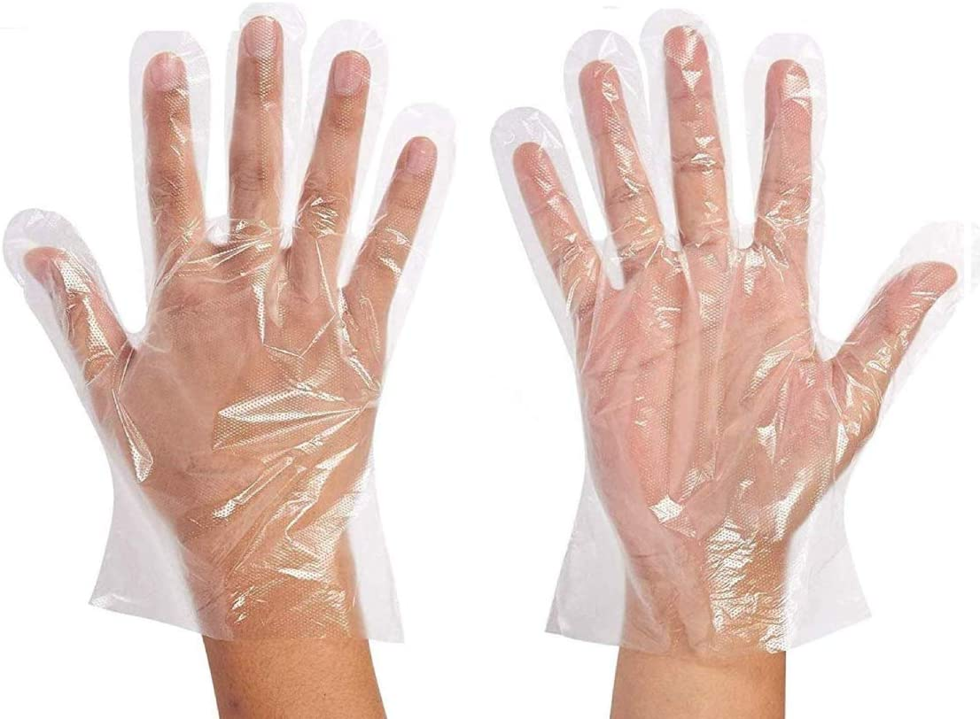Bolayu Disposable Clear Plastic Gloves 500 Piece Plastic Disposable Food Prep Gloves,Disposable Polyethylene Work Gloves (White)