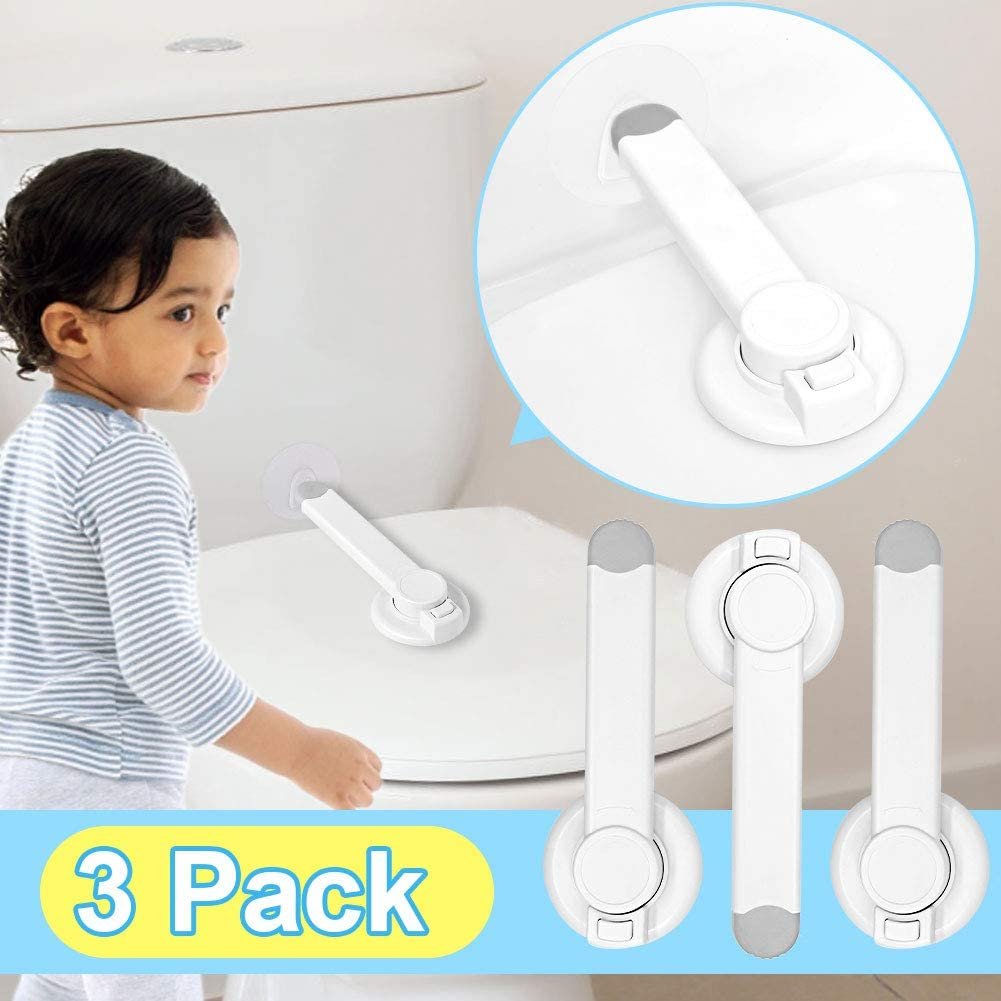 3 Pack Baby Proofing Toilet Lock Easy Installation with Adhesive Toilet Lid Seat Locker Fits Most Toilets Bathroom Child Safety Locks Automatic for Toddler Kids Pets