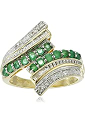 10k Yellow Gold Gemstone and Diamond Ring (1/10 cttw, I-J Color, I2-I3 Clarity), Size 7