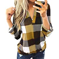 MURTIAL Women Long Sleeve Flannel Plaid Shirt Pullover Sexy V Neck Tops Casual Loose Boyfriend Tunic T Shirts Blouses,S…