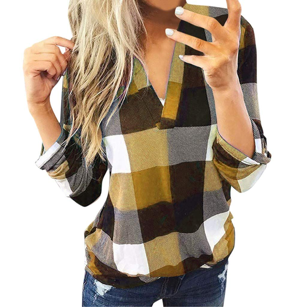 Shusuen ✥ Spring 2019 Women Roll-up 3/4 Sleeve Tops Plaid V Neck Office Work Blouse Leisure T-Shirts Gold by Shusuen