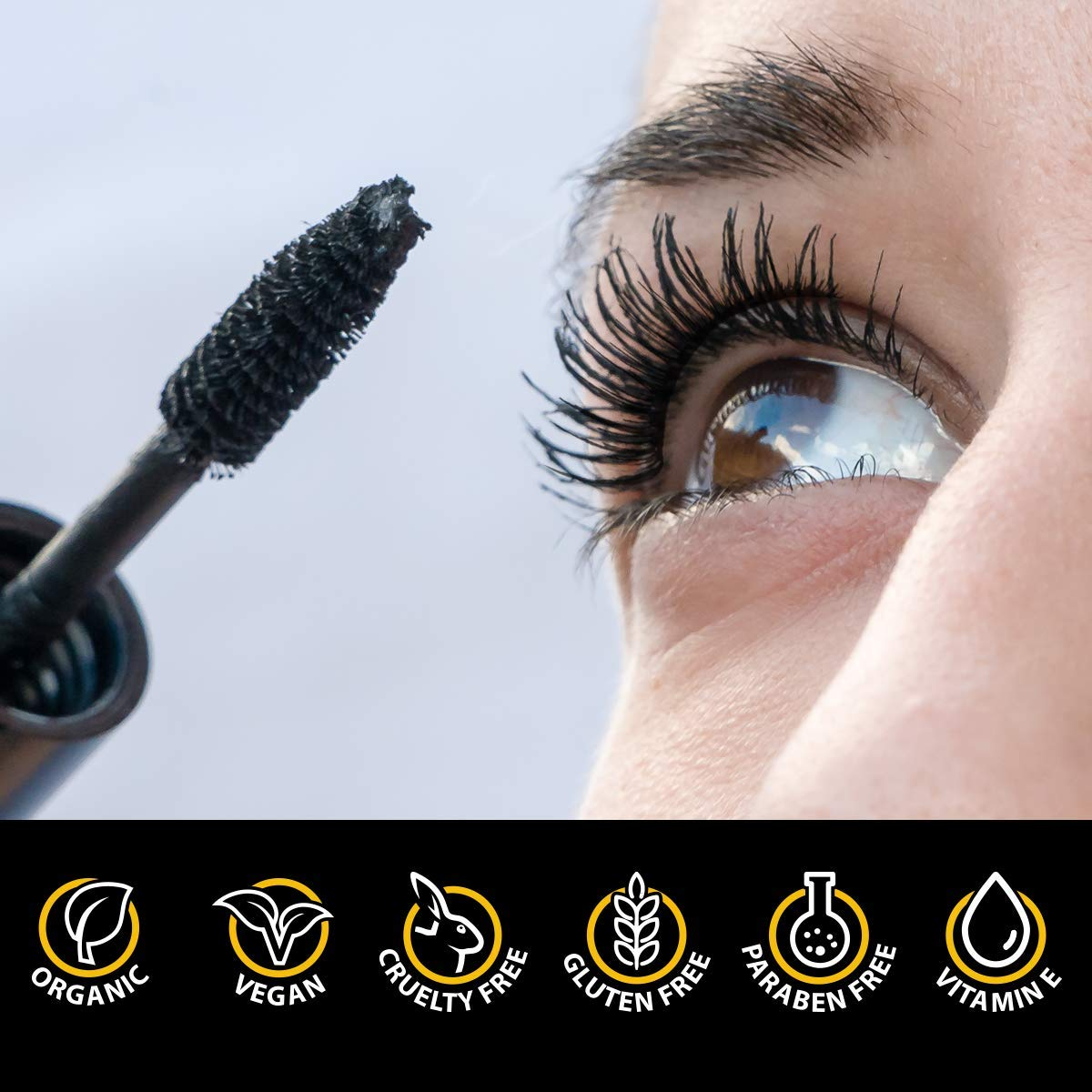 Natural Organic Mascara by Endlessly Beautiful, Black - Vegan & Gluten Free - Nourishes and Conditions Eyelashes - Enriched with Chamomile & Vitamin E by ...