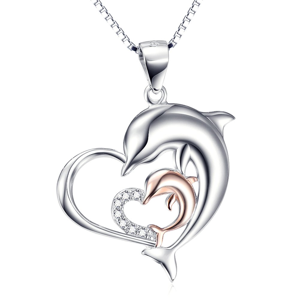 Rose Gold Necklace 925 Sterling Silver Two-tone Eternal Love Heart Double Dolphin Pendant with Chain 18''